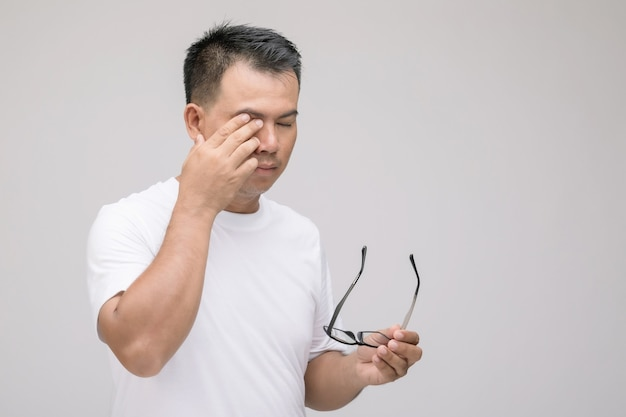 Eye irritation concept : portrait of asian man in posture of eye tired,  irritation or problem about his eye.