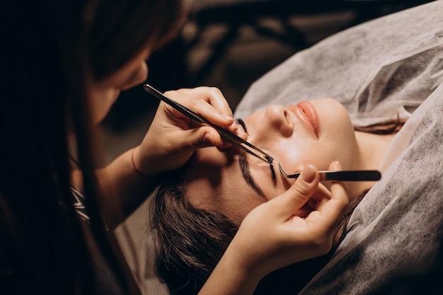 Eye lashes keratin procedure in a salon