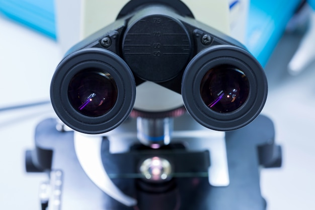 Eye microscope for diagnostic disease in laboratory, concept science and technology