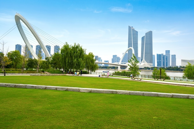 中国、南京の南京歩行者橋と都市のスカイラインの目