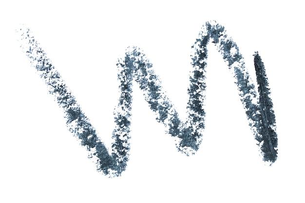 アイペンシルブラックカラーの波線の質感。ホワイトスペースに分離されたアイライナー見本。アイライナー