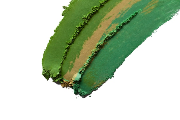 Eye shadow green matt shimmer multi colored texture background white isolated