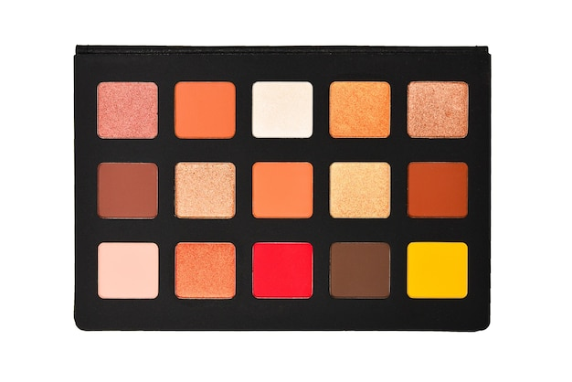 Eye shadow palette isolated on white background. copy space.