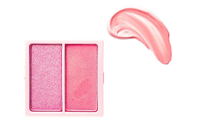 Пудра для теней для век или палитра для макияжа румян в виде плоских розовых косметических мазков для век и блеска для губ ...