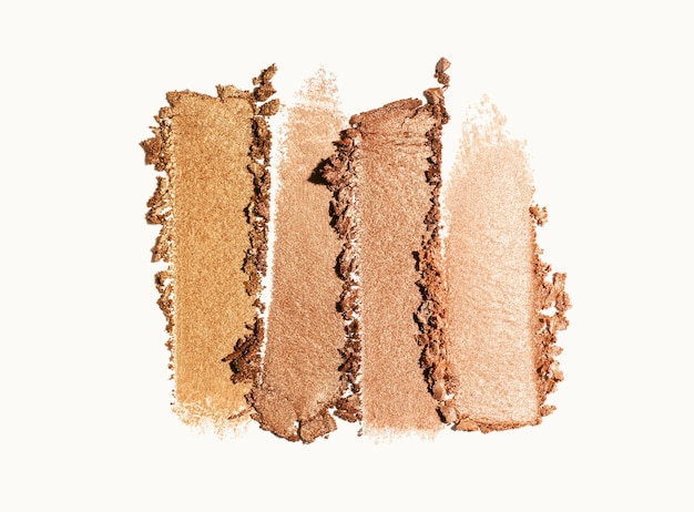 Eye shadow shimmering matte multi colored brown nude palette texture background white isolated