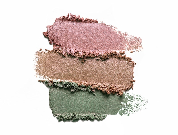 Eye shadow shimmering matte multi colored palette texture isolated on white background