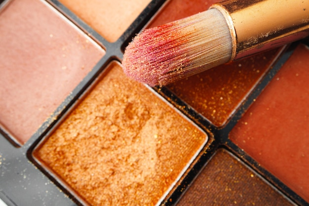 Eye shadows make-up cosmetic palette close up