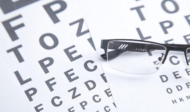 Eye test chart with eyeglasses. medical eye diagnostic