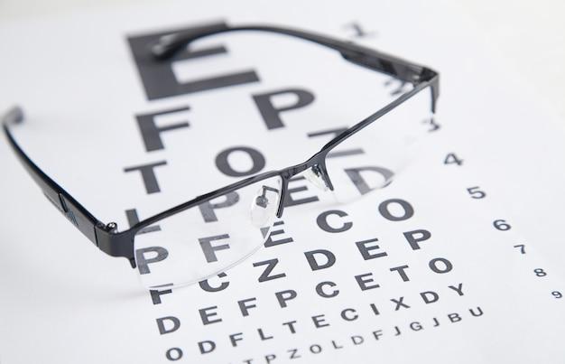 Eye test chart with eyeglasses.