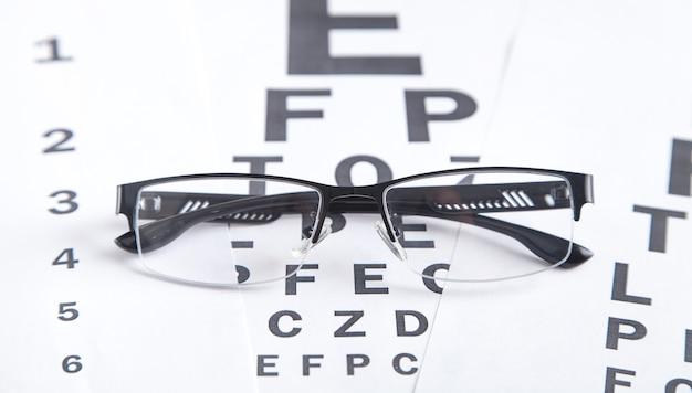 Eye test chart with eyeglasses