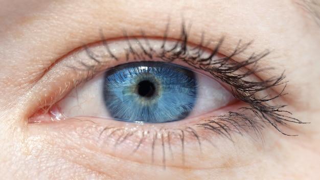 Eye with a blue pupil closeup