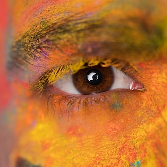 Eye with face stained paint