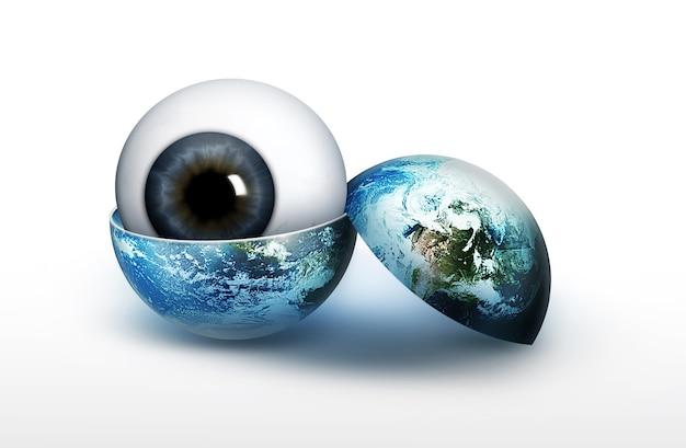 白い背景で隔離の空の世界の眼球