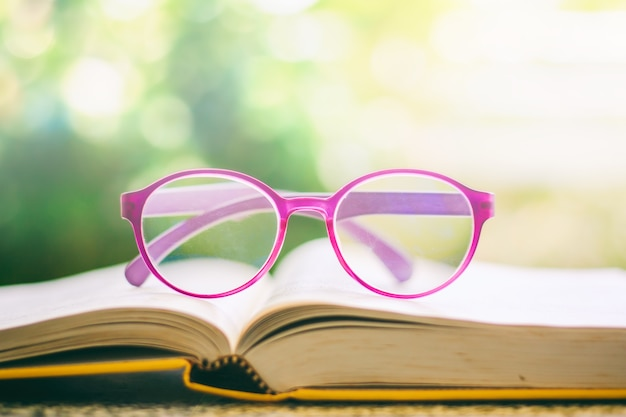 Eyeglasses placed on an opened book
