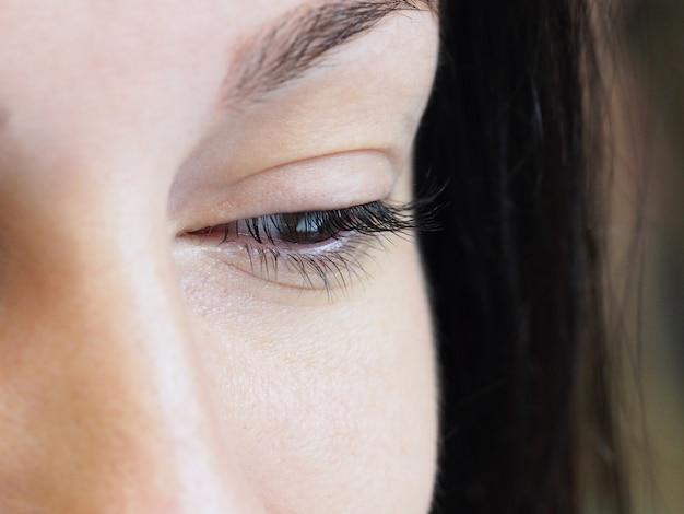 Наращивание ресниц. женский глаз с ресницами.