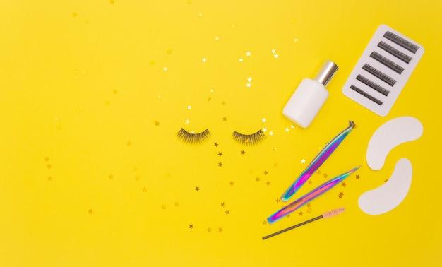 Eyelash extension tools and artificial eyelashes and gold stars
