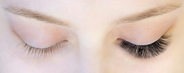 Наращивание ресниц. крупный план глаз с нарощенными ресницами и без нарощенных ресниц, белая девушка. до и после