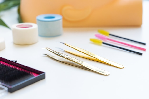 Eyelashes extension tools , close up metal tweezers