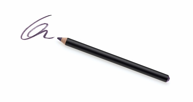 Eyeliner pencil and stroke isolated on white
