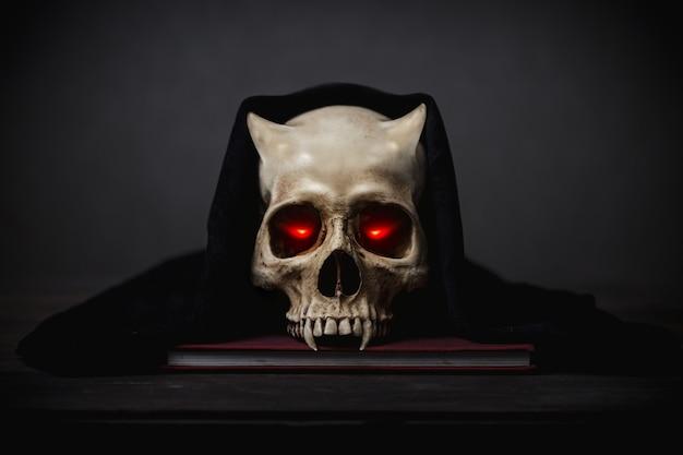 Eyes lightning in motion in a skull