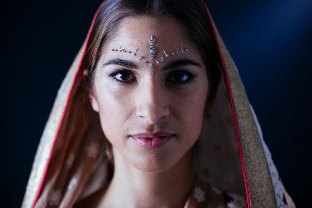 インドの女性の目