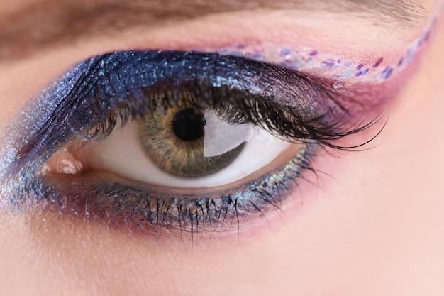 アイシャドウは、ファッションメイクのコンセプトで目のクローズアップ女性モデルの顔にメイクを適用します