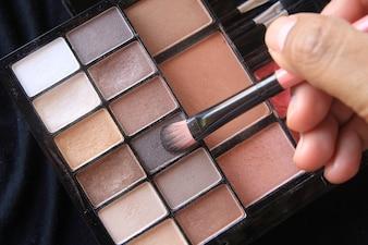 Eyeshadow brown tone in cosmetic palette