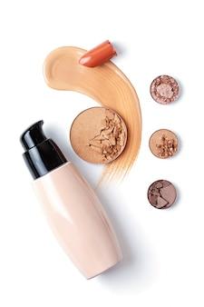 Eyeshadows, foundation, lipstick and face powder. make up artist, beauty salon, beauty blog
