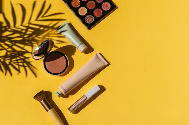 Eyeshadows, powder blush, make up brush