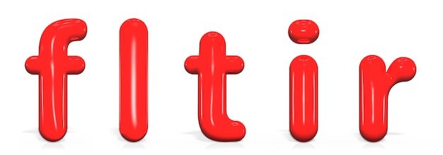 Установите глянцевую краску буквами f, l, t, i, r в нижнем регистре пузыря