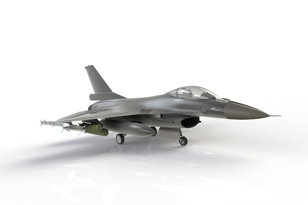 F16, american military fighter plane on white background, 3d rendering