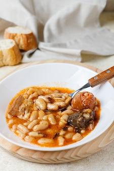 Fabada asturiana, cooked beans.