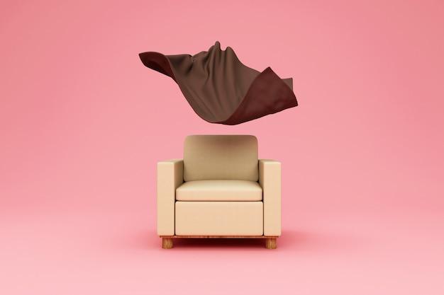 Studio bakground에 플로팅 테리 담요가있는 패브릭 안락 의자