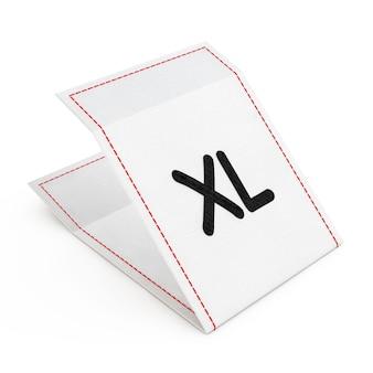 Бирка платья ткани с знаком размера xl на белой предпосылке. 3d-рендеринг.