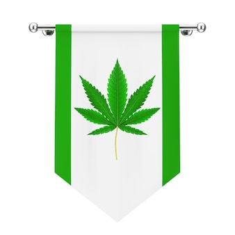 Fabric flag with medical marijuana or cannabis hemp leaf sign on a white background. 3d rendering