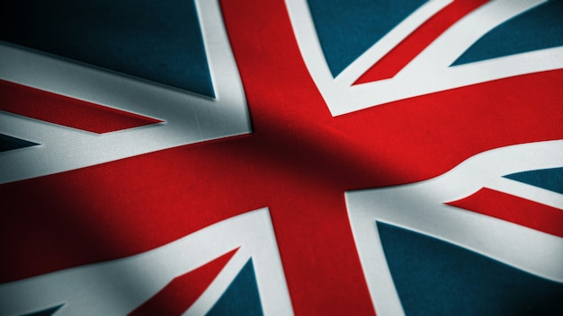 Fabric great britain flag background. textured national united kingdom flag. flag of uk. 3d rendering.