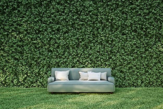 Fabric sofa in garden on grass Premium Photo