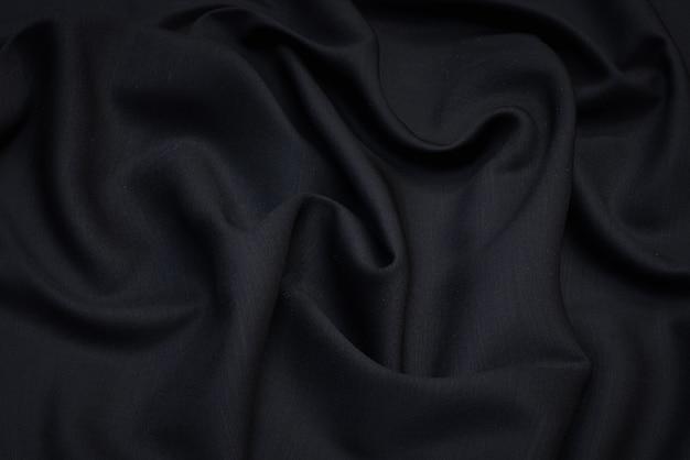 Ткань костюмная черная стрейч из шерсти.