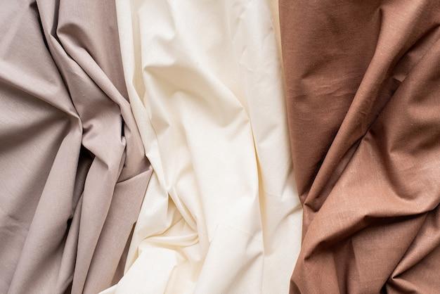 Фон текстуры ткани, три типа волнистой ткани
