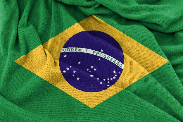 Fabric texture of brazil national flag