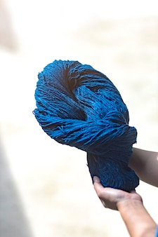 Fabric that has been dyed with indigo ready for weaving, sakon nakhon, thailand