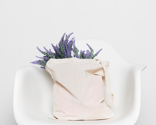 Fabric tote bag filled with lavender