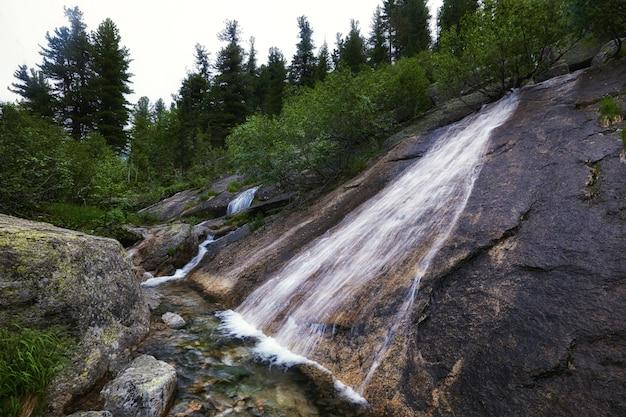 Сказочные горные ручьи, пышная зелень и цветы вокруг. талая родниковая вода с гор. волшебные виды на высокие горы