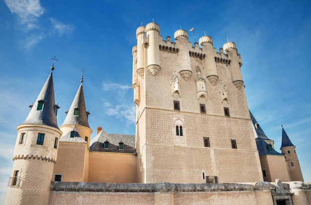 Facade of alcazar castle in segovia, spain.