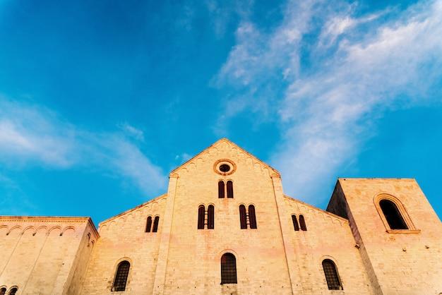 Facade of the basilica church of san nicholas in bari, italy.