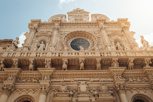The facade of the basilica of santa croce in southern italy.