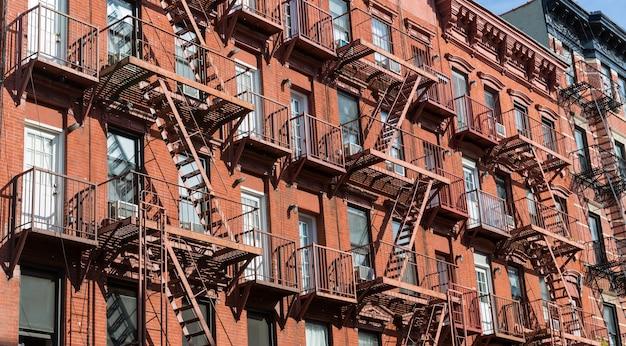 Facade of brick building.