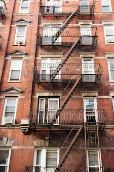 Facade of building with fire escape