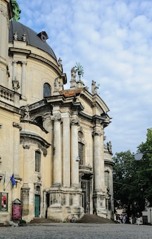 Facade of the dominican cathedral. lviv, ukraine, june 22, 2017. built in the 18th century. baroque style.