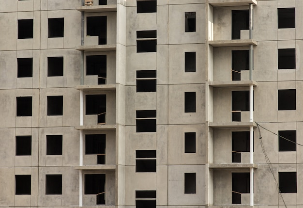 Facade of a new apartment building, under construction